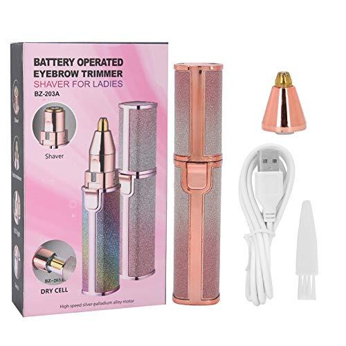 BOLORAMO Moldeadora de Cejas, afeitadora de diseño de Moda para Damas, táctil Mate, Ligera y portátil con luz para Recortar Cejas