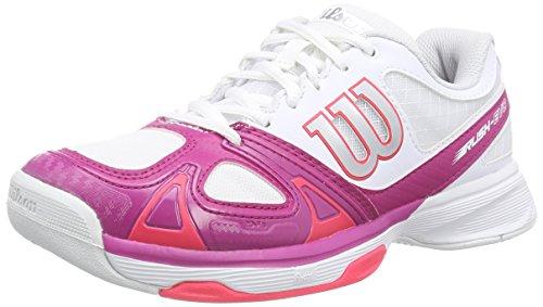 Wilson RUSH EVO WOMAN, Damen Tennisschuhe, Mehrfarbig (White/Fiesta Pink/Neon Red), 41 1/3 EU (7.5 Damen UK)