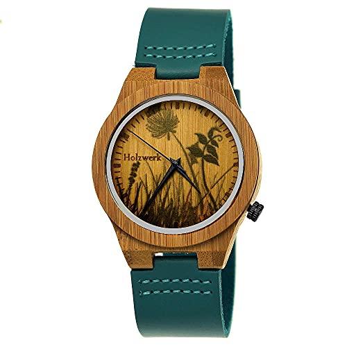 Holzwerk Germany, orologio da donna realizzato a mano in legno ecologico e naturale, orologio da polso in pelle, orologio analogico al quarzo, marrone, blu, turchese, fiori naturali
