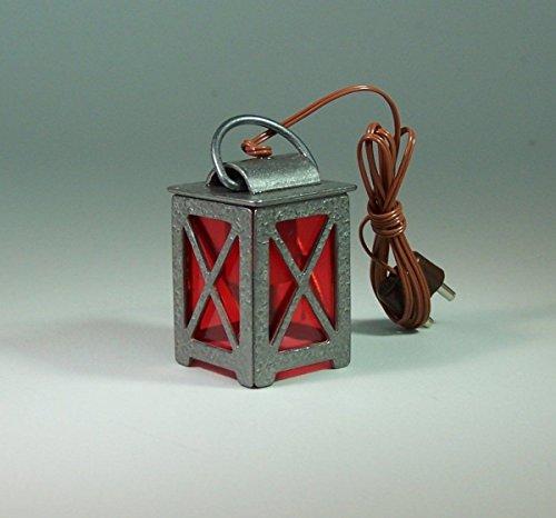 Zinnlaterne mit rote Scheiben. 3,8 cm. 3,5 V. Für Krippenbeleuchtung.