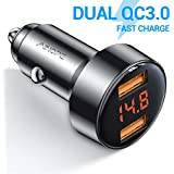 Car Charger Adapter, AINOPE Dual QC3.0 Port 6A/36W USB Car Charger All Metal Cigarette Lighter USB Charger Voltage Display Compatible with iPhone 11/11 pro/XR/X/XS/8, Samsung Note 8/S9/S10+/S8 - Black