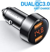 Car Fast Charger, AINOPE Dual QC3.0 Port 6A/36W USB Car Charger All Metal Cigarette Lighter USB Charger Voltage Display Compatible with iPhone 11/11 pro/XR/X/XS/8, Samsung Note 8/S9/S10+/S8 - Black