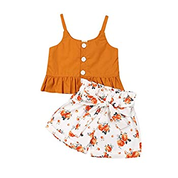 Infant Baby Girls Summer Outfits Halter Button Ruffled Camisole Tank Tops + Bowknot Shorts Striped Casual Clothes Set 2Pcs  Yellow 12-18 Months