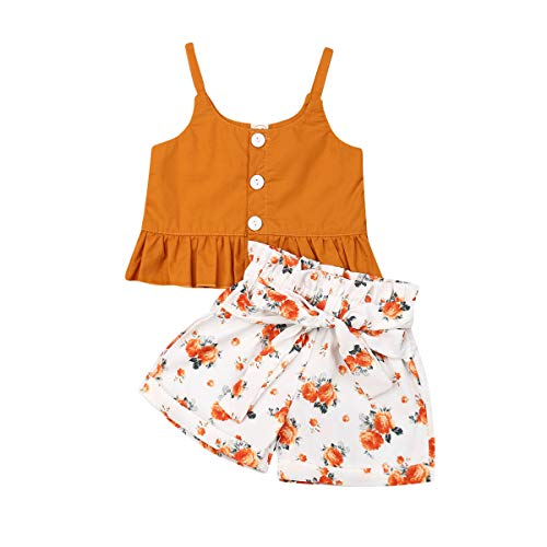 Toddler Kid Baby Girls Halter Floral Top Dress Lace Ruffled T-Shirt Shorts Pants Summer Outfits 1-6Y (3-4Y, Orange)
