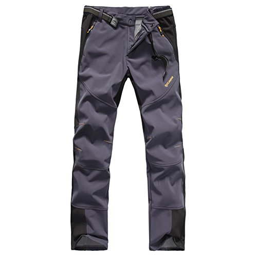 Putu Lovers Waterproof Outdoor Softshell Pants ONE Side Brush Polar Fleece 1501+1502 (Mens Dark Gray, US XL)