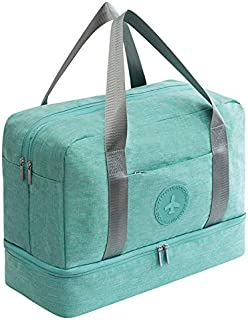 TOOGOO New Cationic Fabric Waterproof Travel Bag Large Capacity Double Layer Beach Bag Portable Duffle Bags Packing Square Weekend Bags,Green
