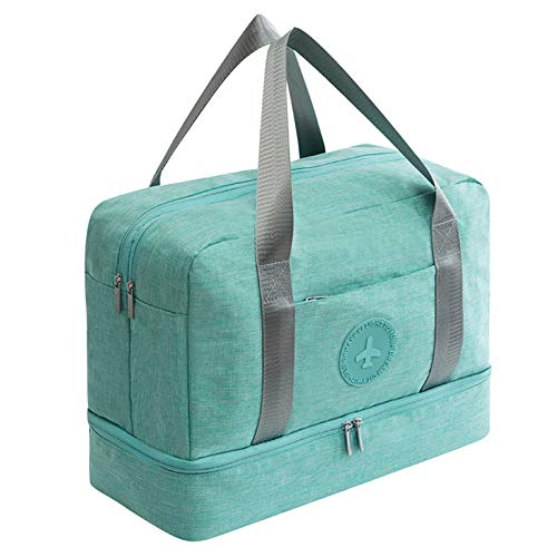 Gaetooely New Cationic Fabric Waterproof Travel Bag Large Capacity Double Layer Beach Bag Portable Duffle Bags Packing Square Weekend Bags,Green