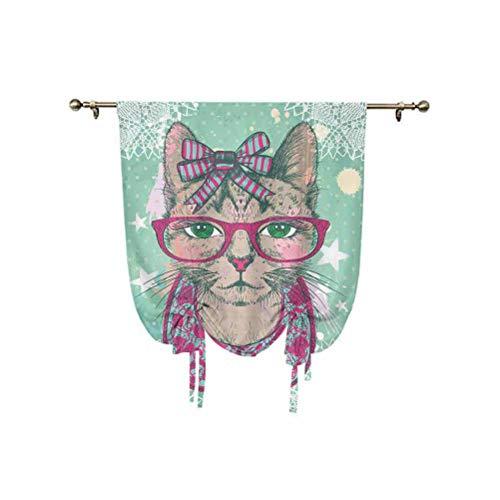 Cortinas opacas para decoración de gatos, diseño de gato moderno en gafas hipster y lazo de encaje con lazo vintage humor para ventana, 137 x 150 cm, para dormitorio de niños, color verde menta