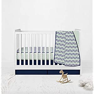 Bacati – 100% Cotton Muslin 3pc Crib Bedding Set Includes 4 Layered Lux Muslin Blanket, Fitted Sheet and Crib Ruffle/Skirt (Mint/Navy Triangles)