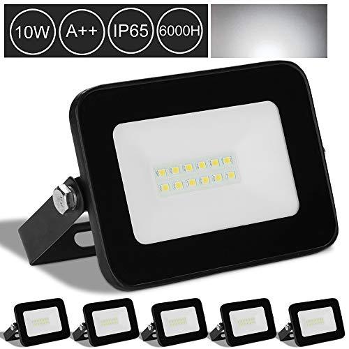 Karpal - Foco LED con detector de movimiento (IP66, resistente al agua, luz blanca fría), 10 W de luz blanca fría, 5er