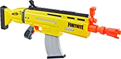 DART BLASTING FORTNITE BLASTER REPLICA: This AR L blaster is inspired by the blaster used in Fortnite, capturing the look and colors of the one in the popular video game MOTORIZED 10 DART BLASTING: Blast 10 darts from this motorized blaster that has ...
