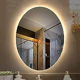 50 * 70cm Illumination Miroir De Salle De Bains, Miroir Ovale Haute DéFinition à LED Ovale sans Cadre, avec Alimentation éTanche Ip54, LumièRe Blanche 6000k