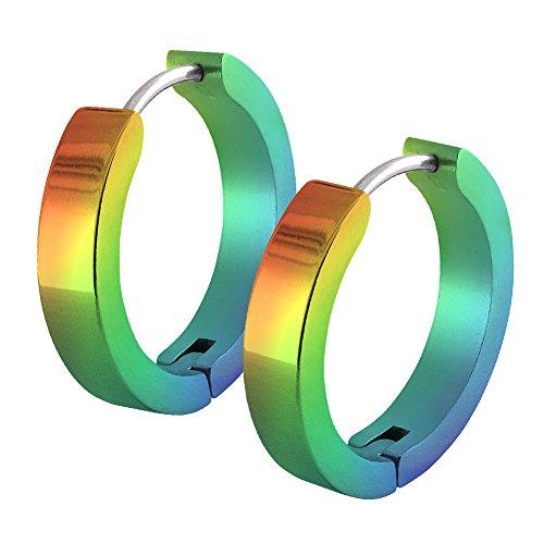 Un par de SoulCats® aros de acero inoxidable arco iris para los hombres y las mujeres