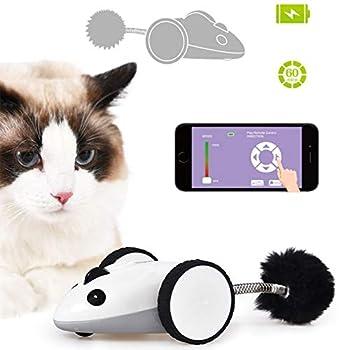 QGB Jouets Chat,Bluetooth App télécommande Chat Jouet Souris, télécommande APP Rat électronique, Jouet Mignon Souris Animal Chat, Chat Jouet Souris Plume,Jouets USB de Simulation Interactive