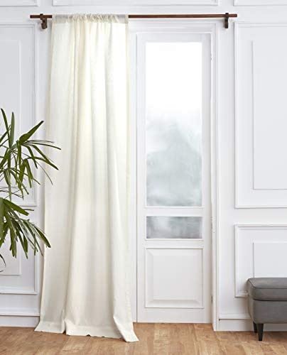 Solino Home 100% Pure Linen Curtain – 52 x 84 Inch Ivory Lightweight Rod Pocket Window Panel – Handcrafted from European Flax