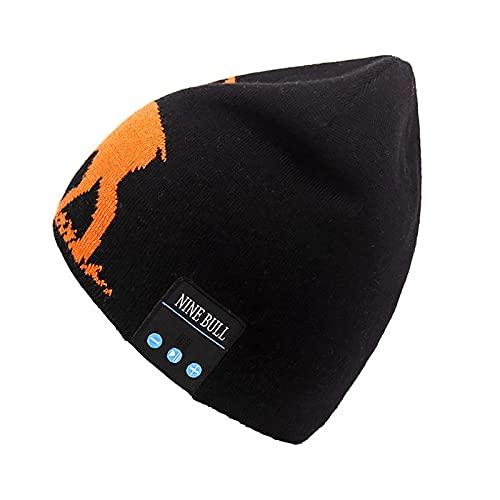PURPLELU, Sombrero De Música Inalámbrica Bluetooth, Jacquard Hecha De Punto Bluetooth Music Hat De Lana Caliente, Conveniente para Escuchar Música/Caminar/Correr,Negro