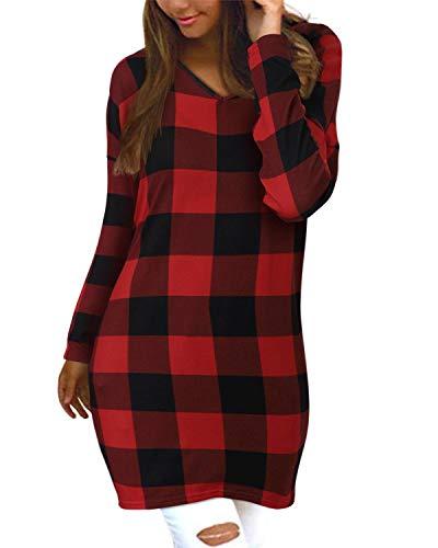 Style Dome Pullover Damen Loose Kariert Langarm Tunika V-Ausschnitt Oversize Oberteil Tops Rot-F29457 M