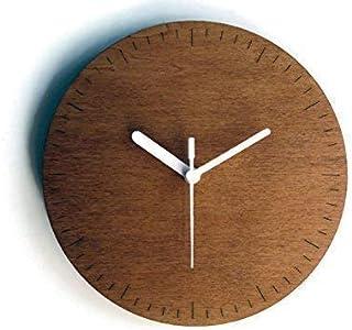 Diametro 19 cm piccolo orologio da parete moderno in legno silenzioso colorato come noce scuro Particolari orologi a muro ...