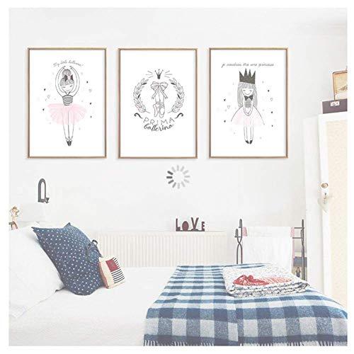 nr Rosa Ballerina meisjes canvas schilderij Nordic muurkunst poster afbeelding wooncultuur kinderen slaapkamer woonkamer 40 x 60 cm x3 zonder lijst