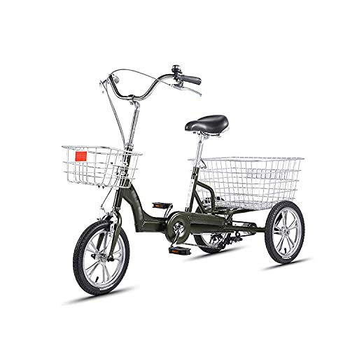Adult Tricycle High Carbon Steel Frame Adult Bicycle Three Wheel Cruiser Bike for Recreation, Shopping,L125CMH108CM