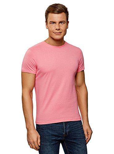 oodji Ultra Hombre Camiseta Básica, Rosa, XS