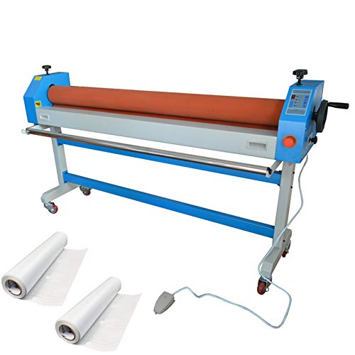 INTBUYING Automatic Electric Manual Soft Rubber Roller Large Cold Laminating Laminator Machine (63In)