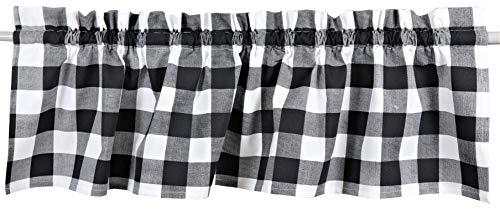 Crabtree Collection Curtain Valances for Windows (16 x 60) ... (Black Buffalo Check)
