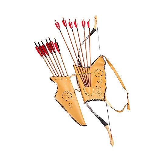 MKIU Funda De Arco Y Flecha Tradicional, Carcaj Portátil Montado En La Cintura, Puede Contener 6 Flechas con Hebilla De Ajuste para La Práctica De Tiro De Caza