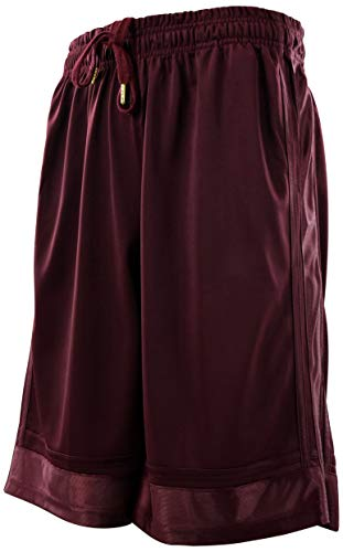 ChoiceApparel Mens Gym Training Basketball Shorts with Pockets (3X-Large, 609-Burgundy)