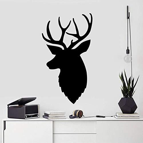 Calcomanía de pared de ciervo, pegatina de guardería de bosque, diseño de interiores de oficina, decoración, dormitorio, habitación para adolescentes, calcomanías de arte de asta, moderno A8 57x32cm