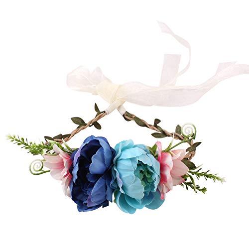 dontdo Diadema de flores artificiales para niños, banda para el pelo de playa, guirnalda de fiesta, regalo C