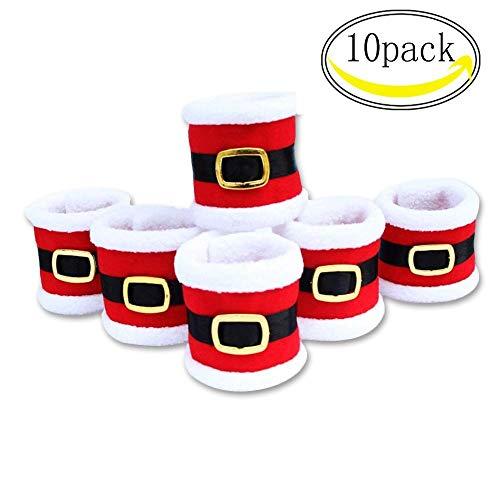 CHBOP 10 x Serviettenring Handtuchring Serviettenhalter Tischdekoration Dekorative Tischdeko für Weihnachten Weihnachtsmann