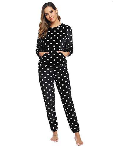Hawiton Pijamas Mujer Invierno Polar Pijama de Manga Larga Franela Conjunto de Pijama para Mujer Ropa de Casa 2 Piezas