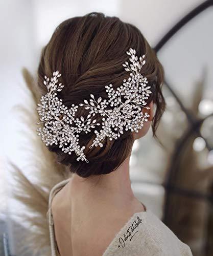 TOPQUEEN Haarschmuck für braut hochzeit haarschmuck hochzeit Silber Strass Braut Haarkamm Hochzeit Haarschmuck Tiara Diadem, Schmetterlinge (HP253-Silver)
