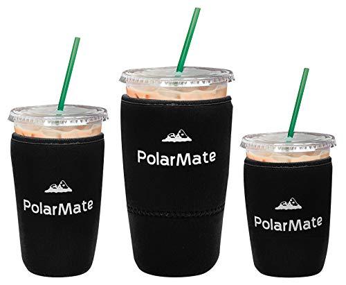 Wiederverwendbare Eiskaffeehülle   Isolierbecher für kalte Getränke   Neopren-Becherhalter   Ideal für Starbucks, McDonalds, Dunkin-Donuts & mehr (schwarz)