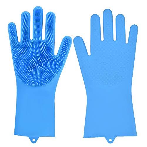 HEEGNPD 2 stuks latex vaatwashandschoenen siliconen washandschoenen milieuvriendelijke huishoudelijke schoonmaakhandschoenen auto huisdier onderhoud hulp spons