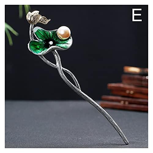 Épingle à Cheveux Chinoise Vintage Lotus Flower Hair Stick Bâton Metal Bamboo Feuilles Formé Longue Pow Cheveux Accessoires pour Cheveux Femmes Banque Bijoux Cheveux Cadeaux (Metal Color : D)