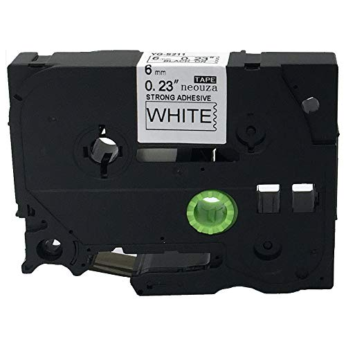 """Black on White Extra Strength Label Tape Compatible for Brother TZ TZe S211 TZ-S211 TZe-S211 211 6mm P-Touch 8mm 0.24""""x26.2'"""