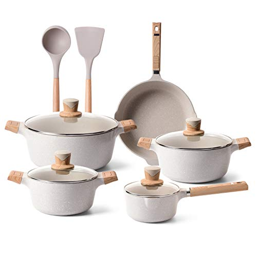 YIIFEEO 11 Pieces Cookware Set, Nonstick Pans and Pots Sets, Stone Non Stick Frying Pans and Saucepan Sets with Cooking Spatula & Spoon, Induction Compatible Beige