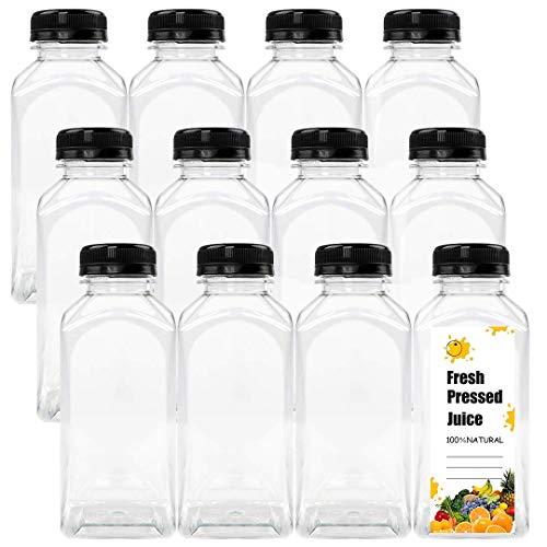 Botellas de jugo de plástico vacías de 12 onzas con tapas, contenedores desechables transparentes reutilizables con tapas negras para jugo/leche/líquido/licuado/bebidas, paquete de 12