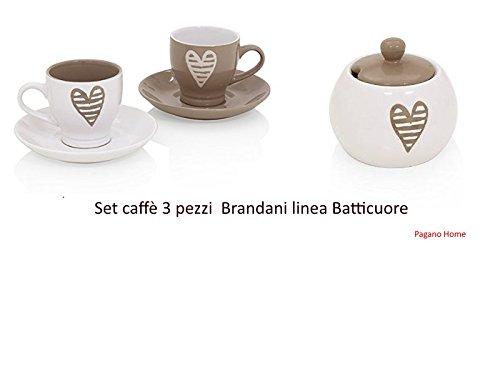 Brandani Batticuore Set caffè 3 Pezzi (2 tazzine caffè con piattino e zuccheriera)