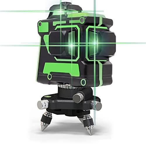12 Linien Lasernivellier 3X360 3D Selbstnivellierendes Nivellierungs- und Ausrichtungslaserwerkzeug Grüne Linie Vertikale Horizontale Wiederaufladbare Feinabstimmung Neigungslinien