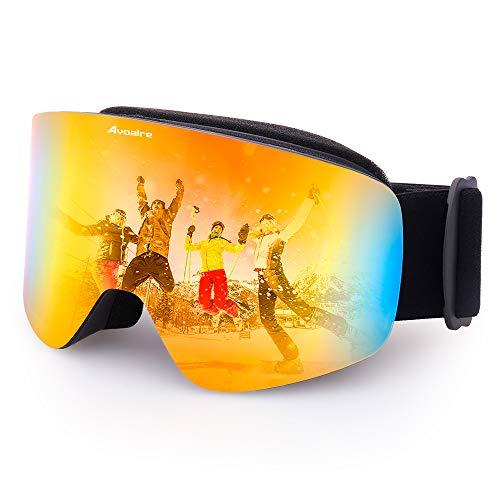 Avoalre Skibrille Snowboardbrille Damen - Rahmenlos Ski Snowboard Brille für Brillenträger Schutzbrillen, 100% OTG Anti-Fog 400 UV-Schutz Schneebrille Verspiegelt Snowboard Ski Goggles