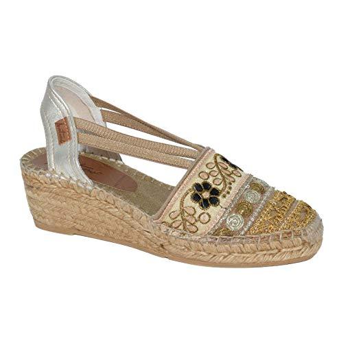2125 Lola Hc4 - Alpargata de cuña media en colores beig y oro con tapapuntos de fantasía