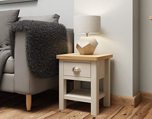 Dorset Grey Oak Lamp Table | 1 Drawer Side Table | Truffle Grey