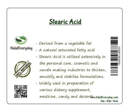 Stearic Acid 1lb Cosmetic Grade (1lb)