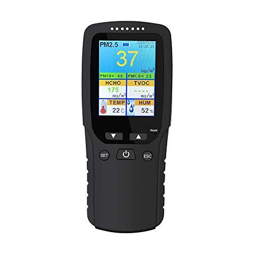 Elikliv Monitor de Calidad del Aire 9-en-1, Detector para PM2,5, PM1,0, PM10, HCHO y TVOC con Sensor de Temperatura y Humedad, Monitor AQI para Interior y Exterior