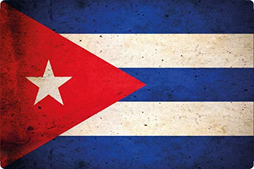 Blechschild 20x30cm gewölbt Kuba Cuba Flagge Fahne Retro Vintage Deko Geschenk Schild