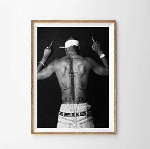 QINGRENJIE Tupac 2Pac Poster und Drucke Tupac Amaru Shakur Rap Lyrics Leinwand Kunst Gemälde Gangsta Rap Bilder Home Room Wandkunst Dekor 42X60 cm ohne Rahmen