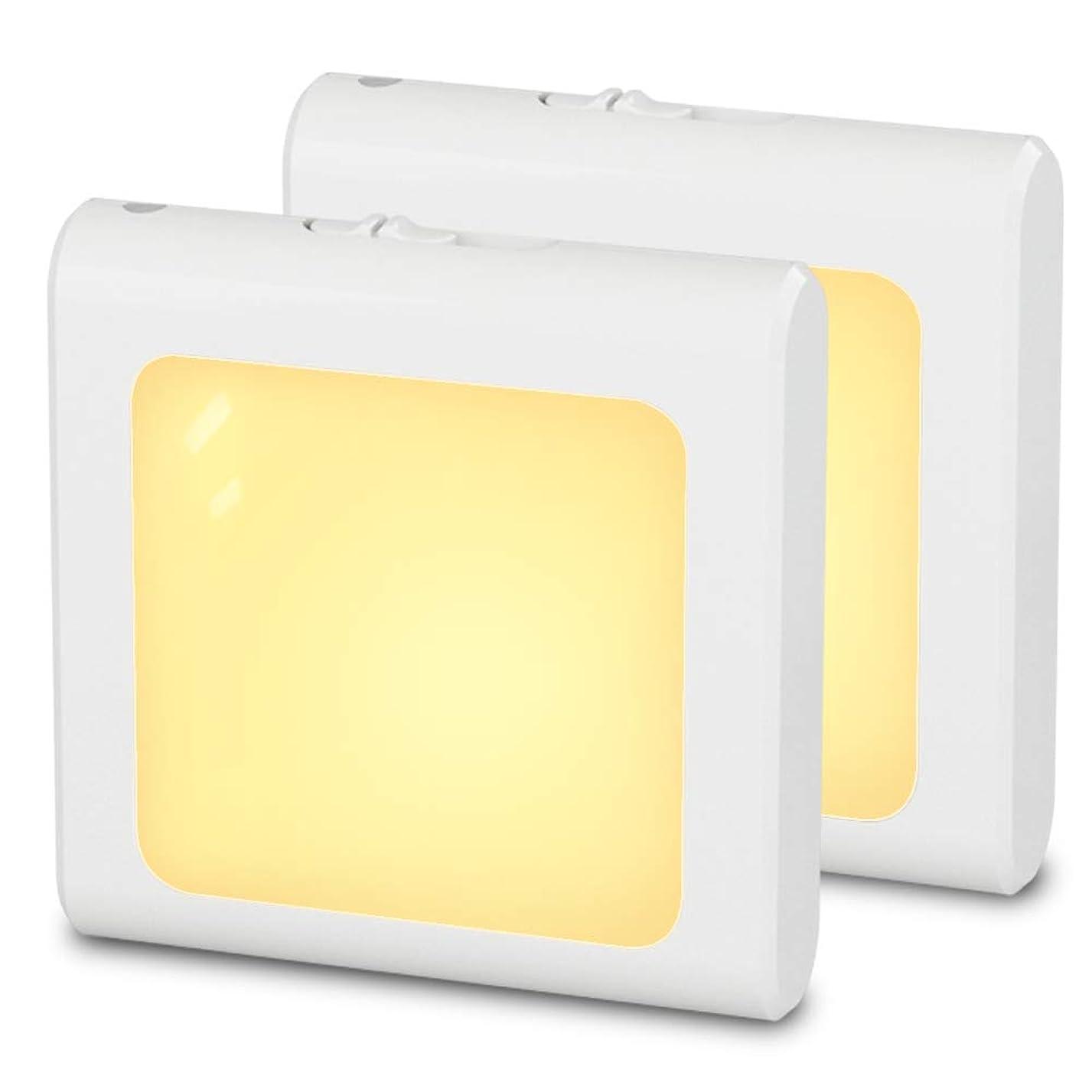 非公式インサートウェブMAZTEK MZ3092RJ ナイトライト挿入式LED足元灯、夜間センサー付き、明るさとスイッチ調節可能常夜灯、リビングルーム、寝室、キッチン、廊下、階段に適用、 温白色,2個セット